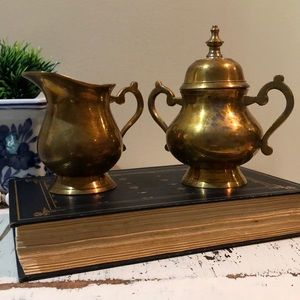 Vintage Brass Creamer and Sugar Bowl